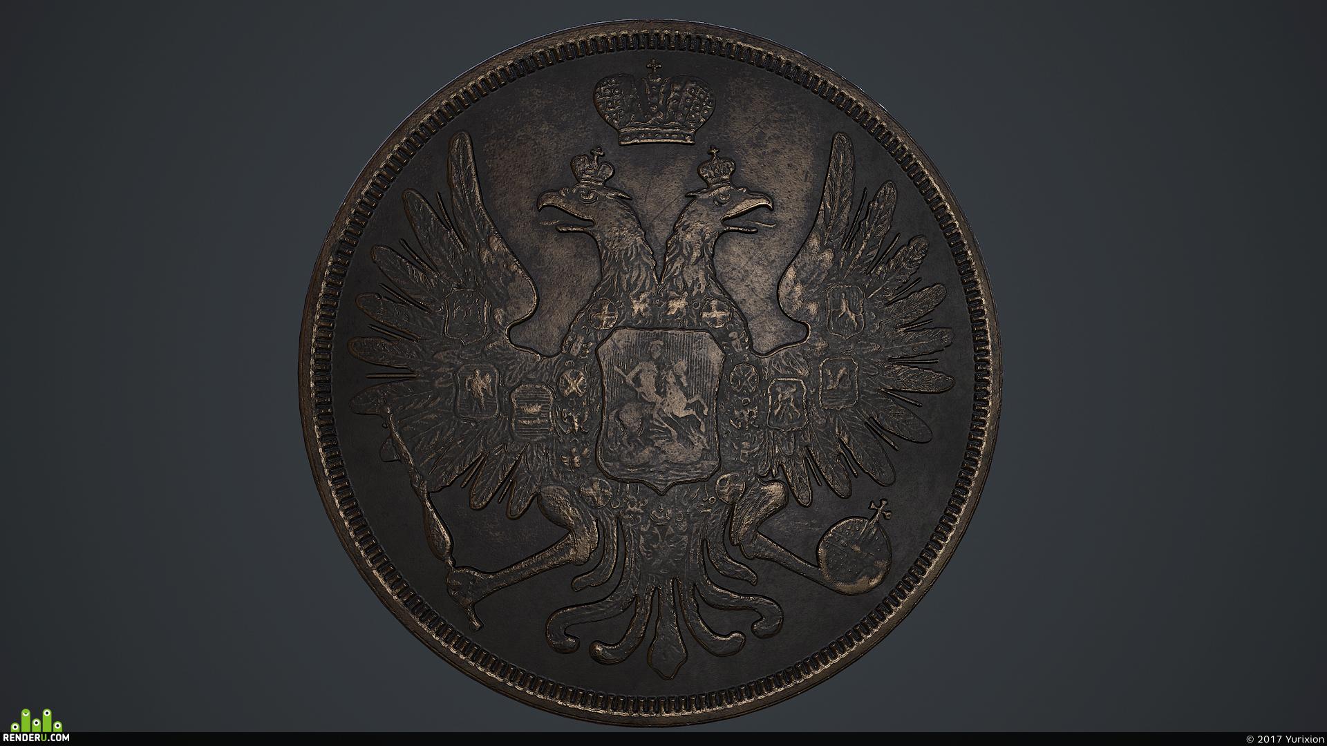 preview Российская медная монета 3 копейки 1853 года