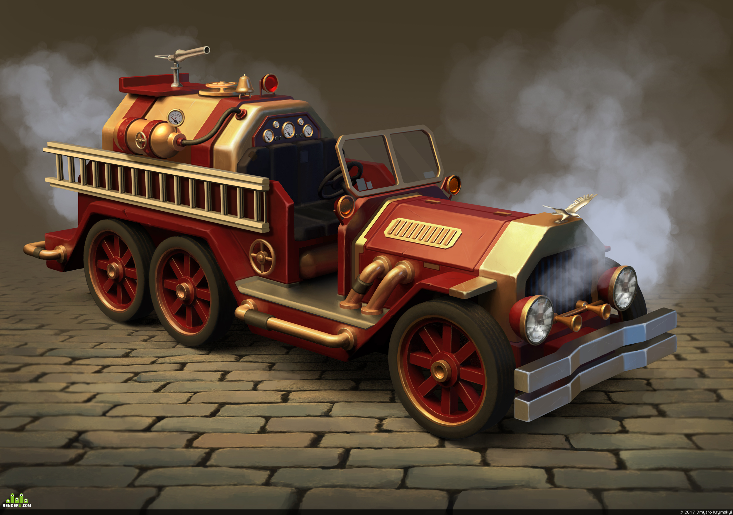 preview Steampunk firefighter car