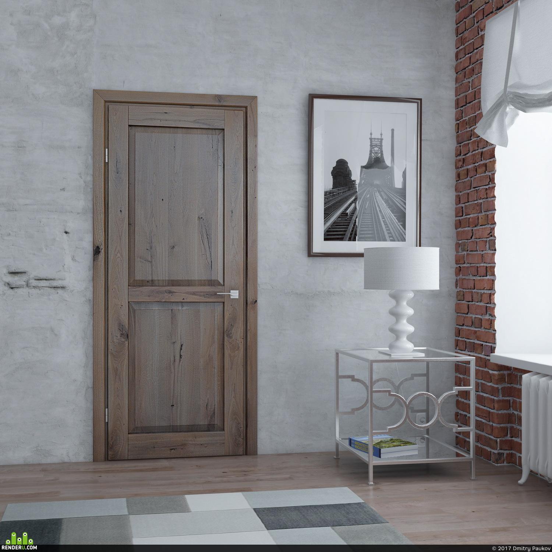 preview Визуализация двери в стиле лофт