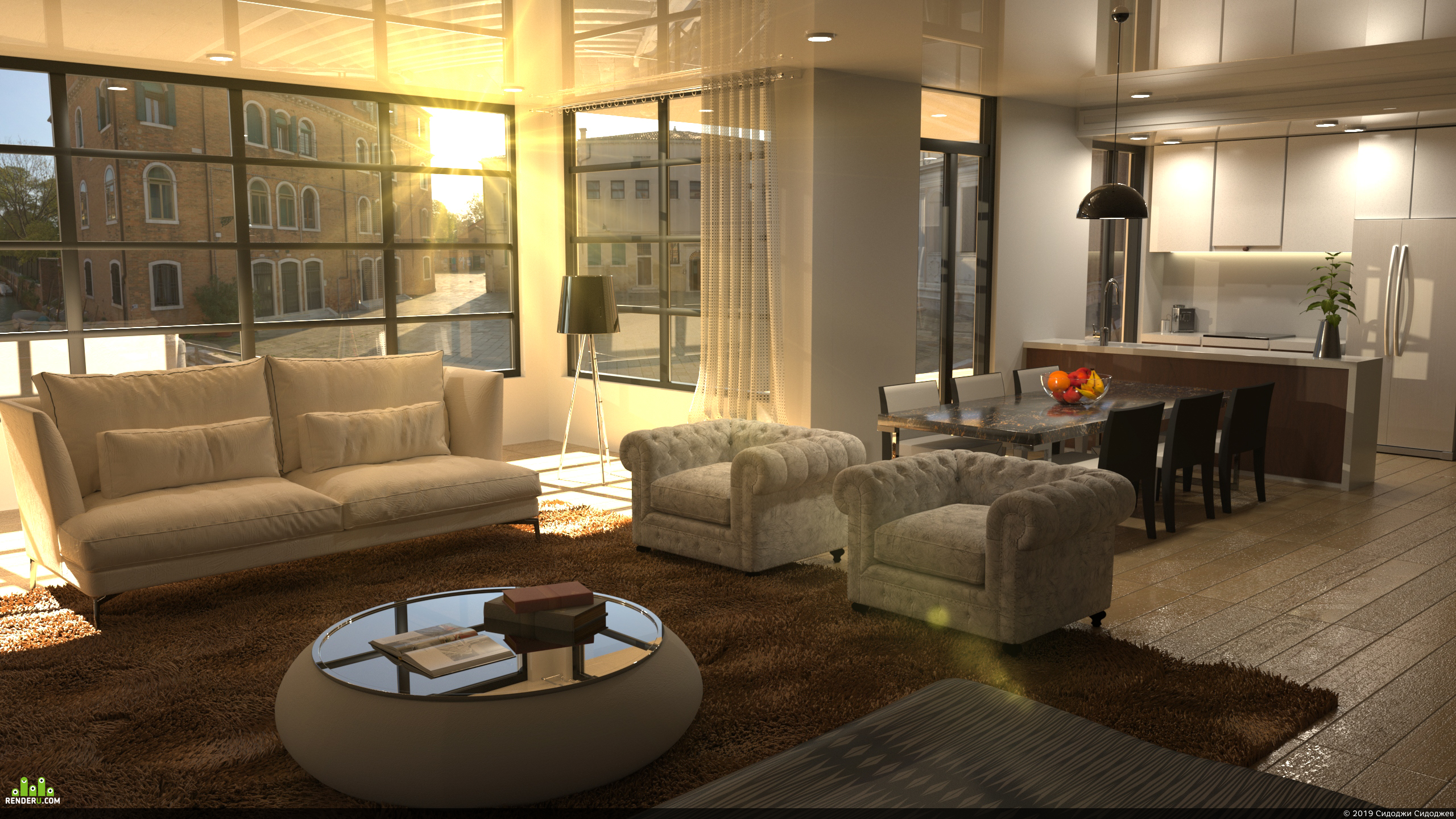 preview 3D визуализация гостинной
