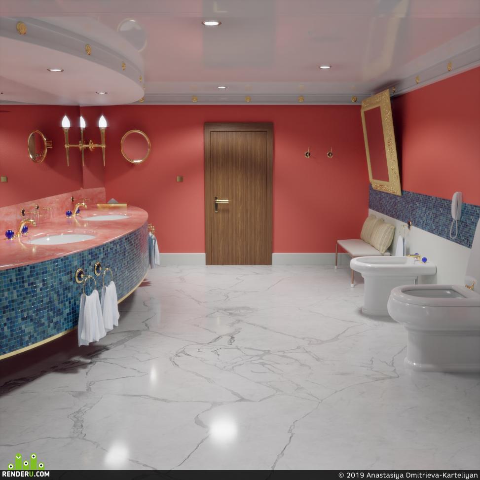preview Визуализация ванной комнаты в номере отеля Burj Al Arab.