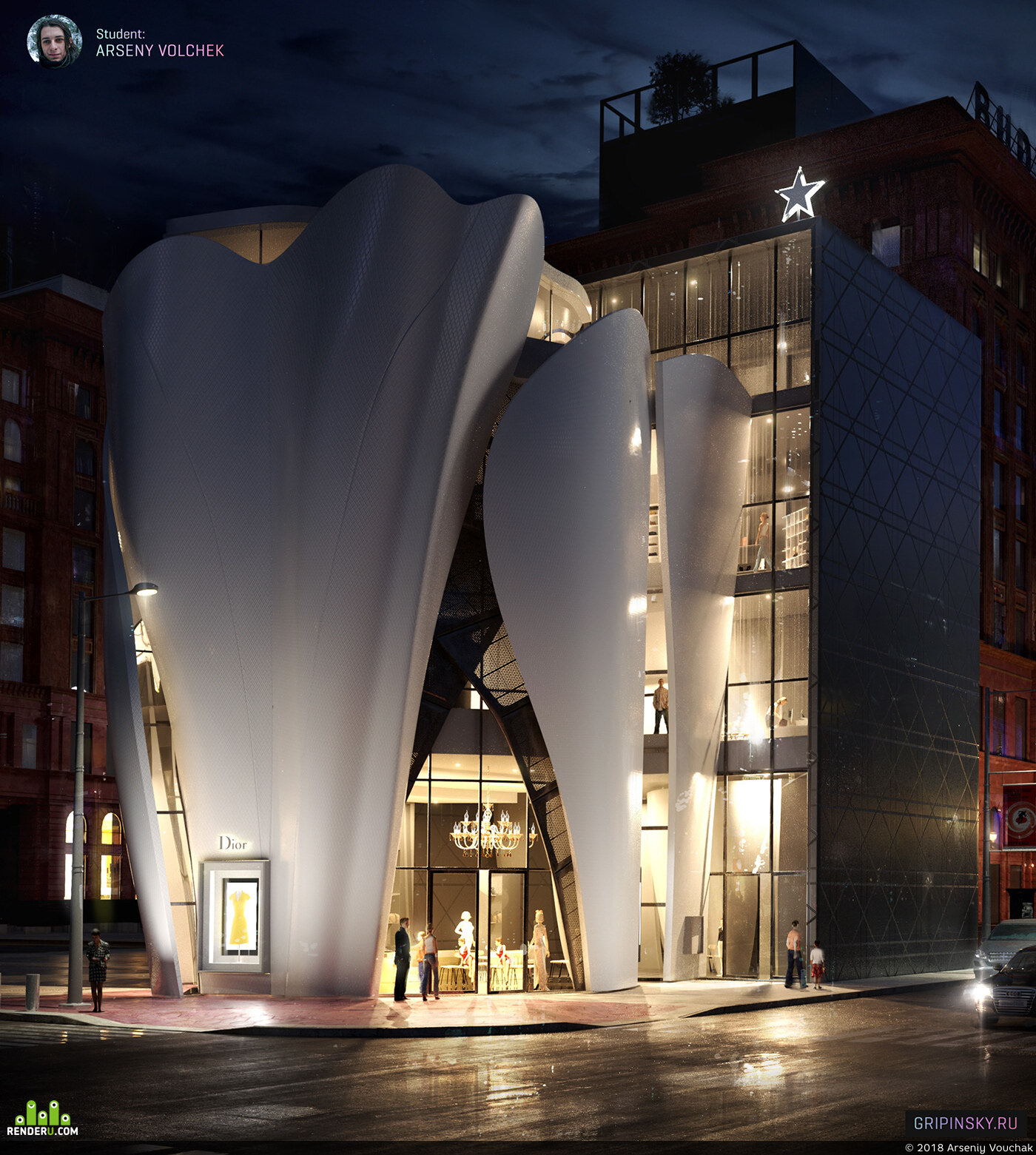 preview House of Dior in Seoul. Exterior 3D Visualization