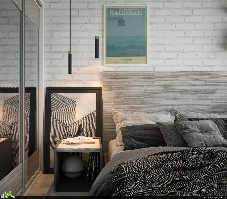 preview Визуализация интерьера спальни к дизайн проекту двухкомнатной квартиры площадью 46 м2; г.Москва, 2019 год.