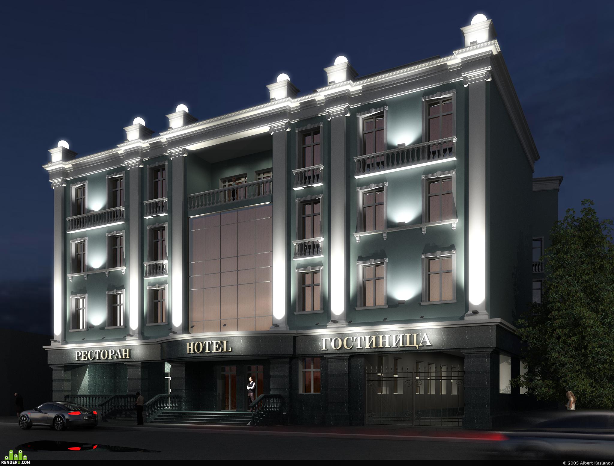 preview Здание гостиници и ночная подсветка
