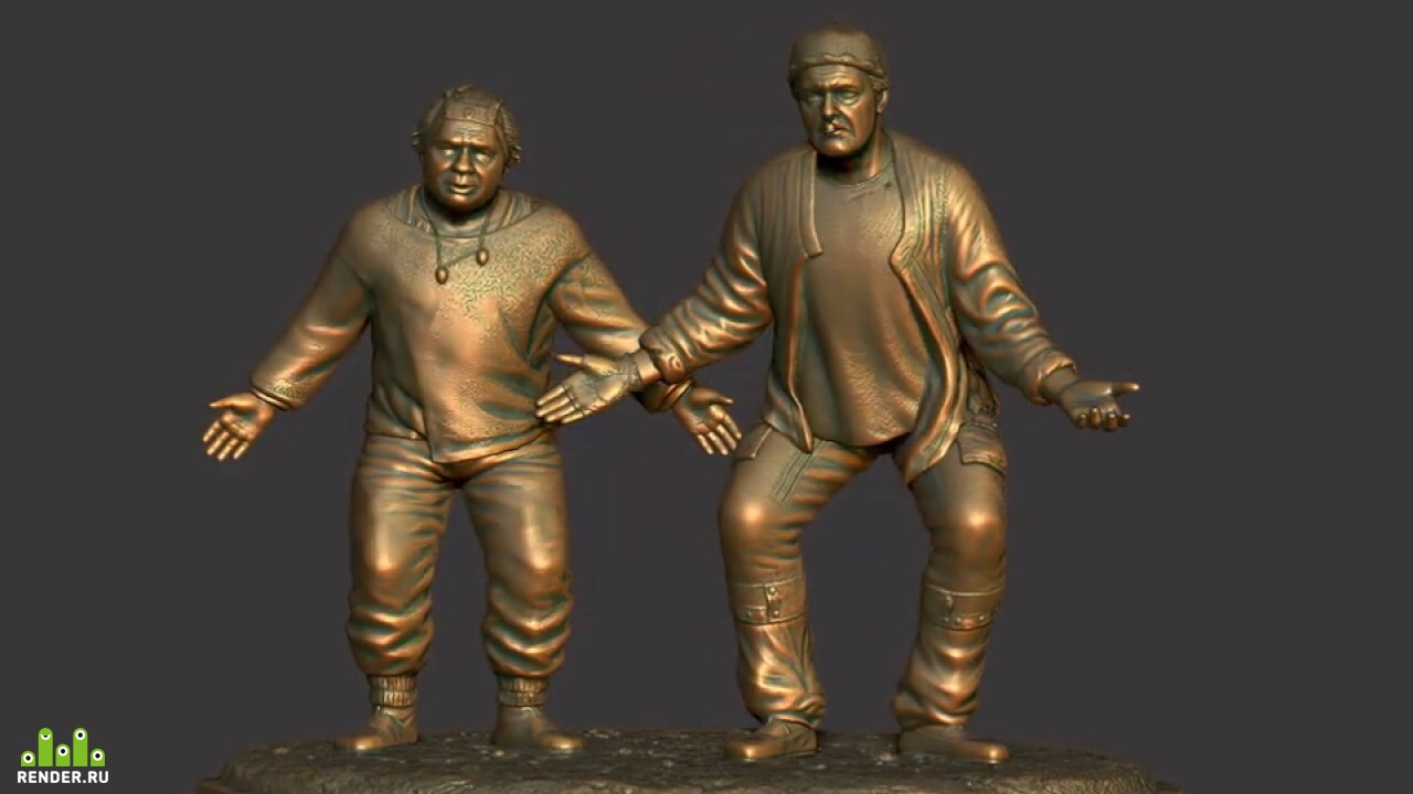 "preview 3D sculptures of actors E. Leonov and Y. Yakovlev as Uef and Be in the film ""Kin-dza-dza""."