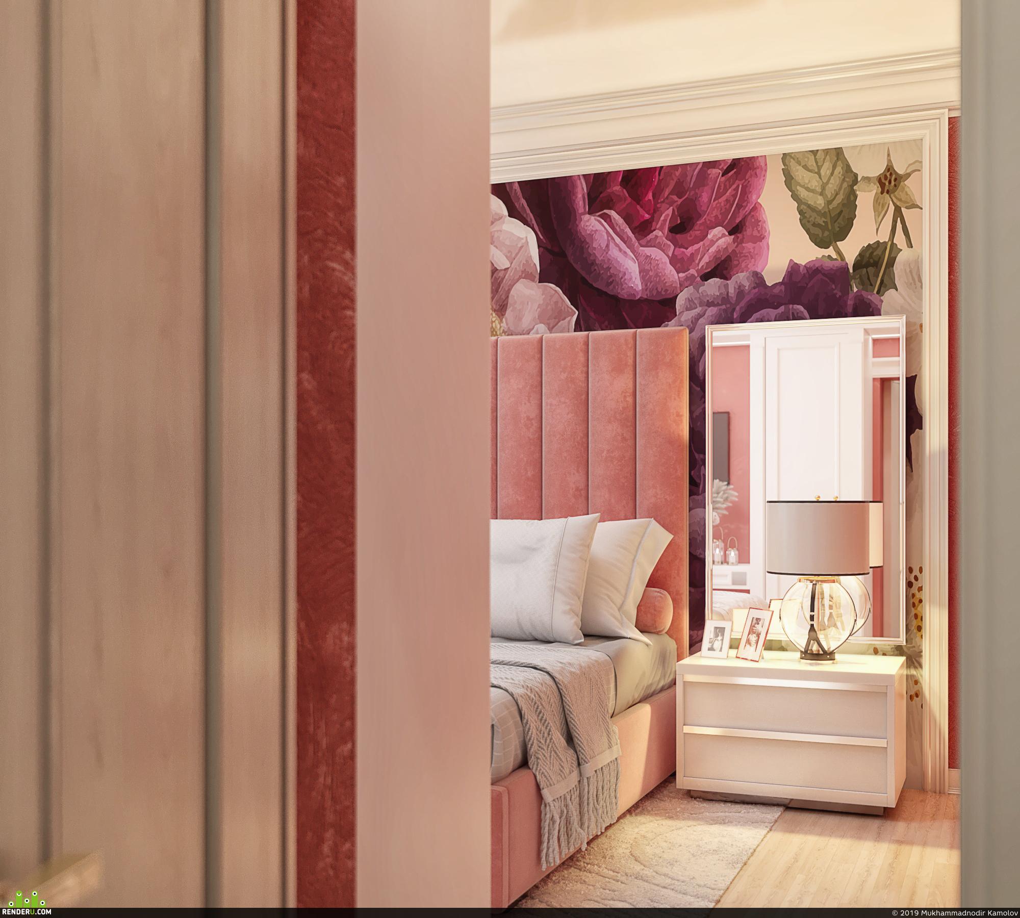 preview Интерьер коралловой спальни