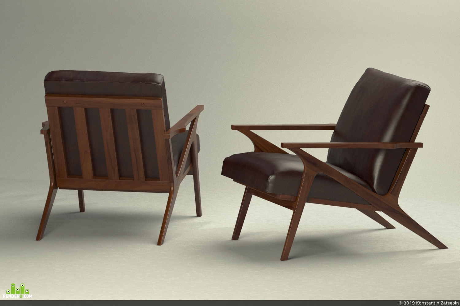 preview Кресло Cavett Leather Wood Frame Chair