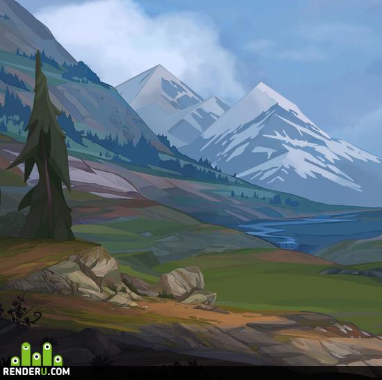 preview Стилизованный пейзаж-фон