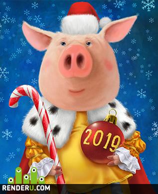 preview Новогодний свин