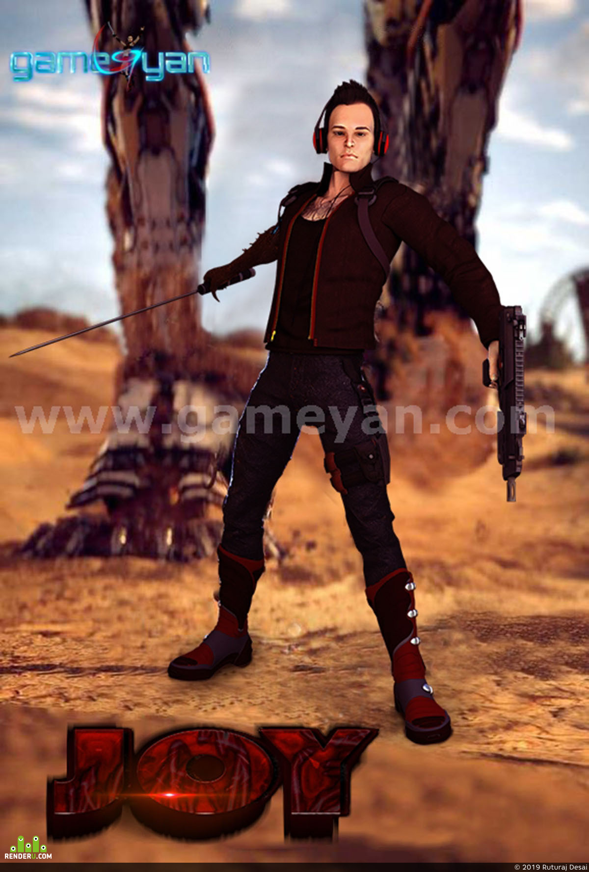 preview 3D Joy male Warrior Character Animation Studio By GameYan game development companies