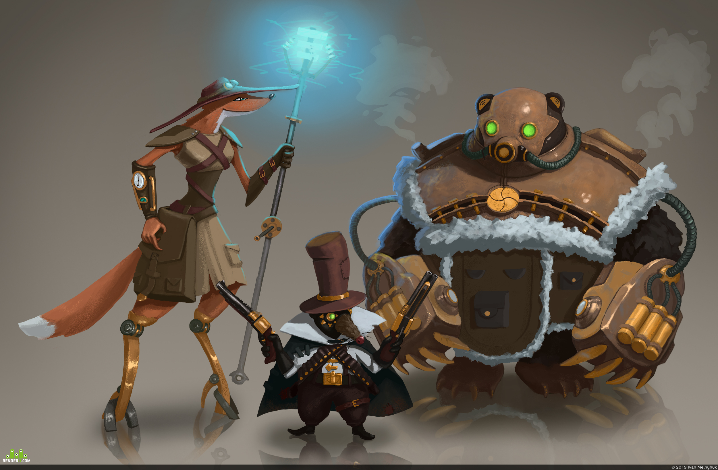 preview Concept, fox, rat, bear, steampunk style.