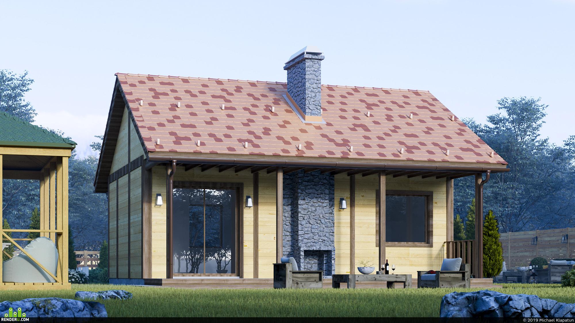 preview Визуализация небольшого загородного дома