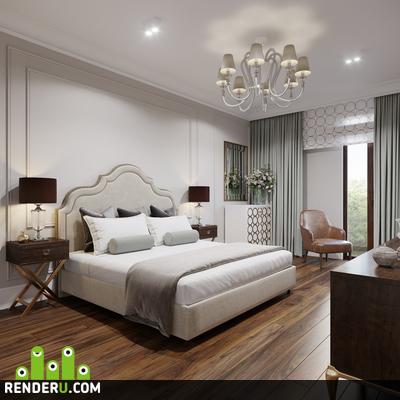preview Визуализация спальни в легкой классике