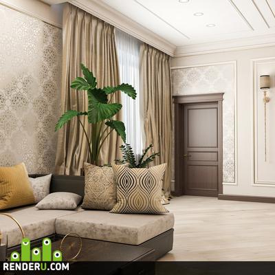preview Интерьер спальни и гостиной