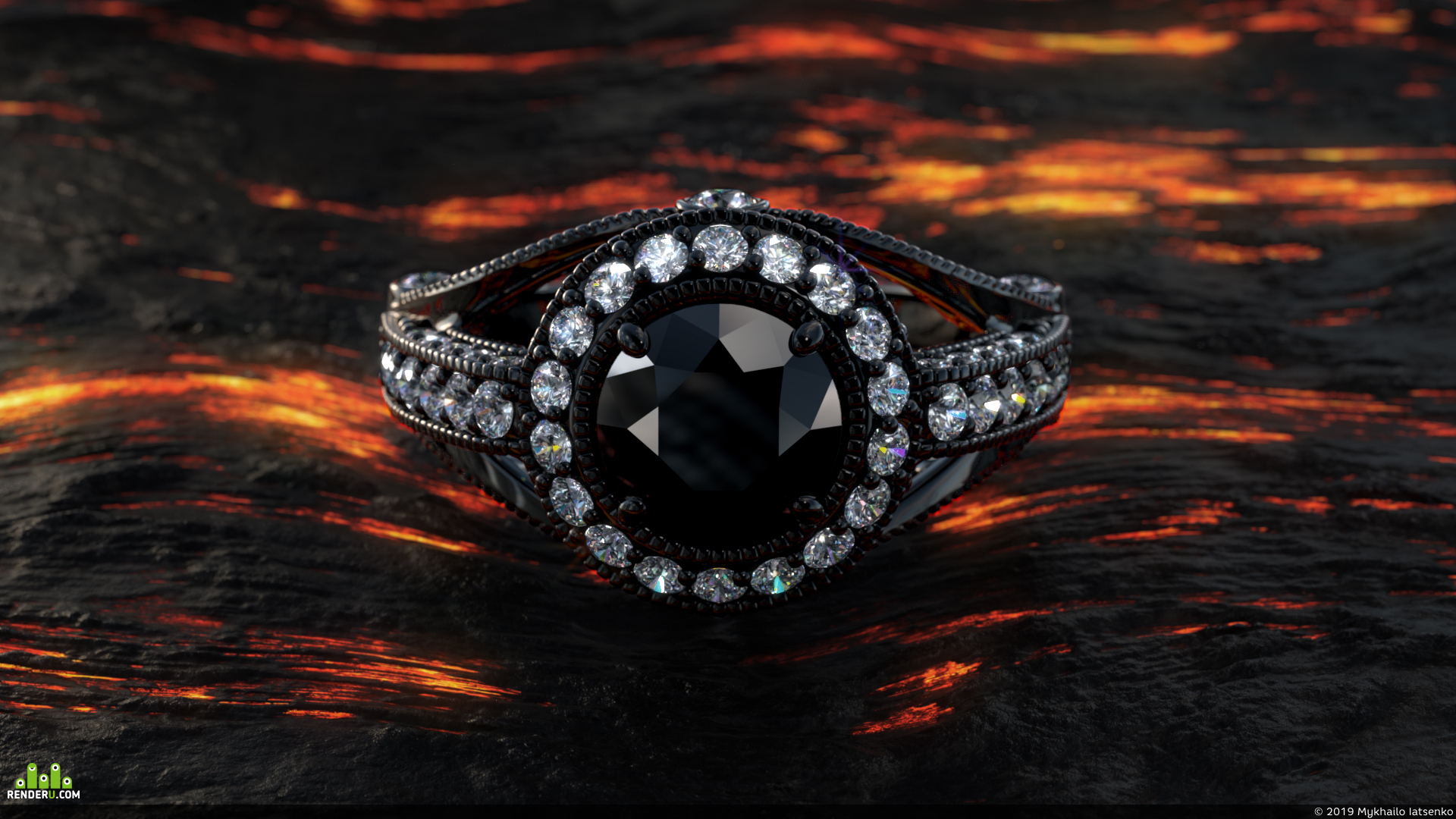 preview Кольцо с чёрным бриллиантом