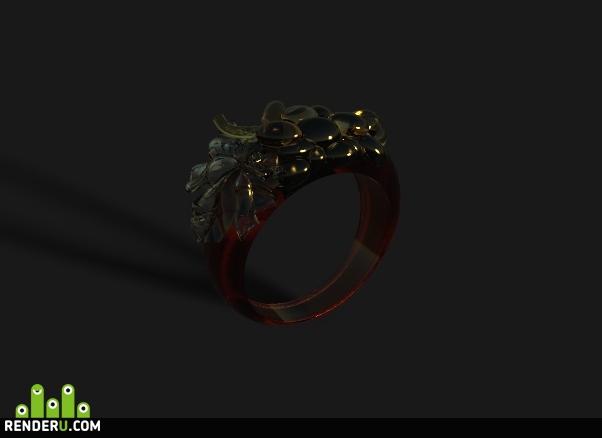 preview Стеклянное кольцо с виноградом