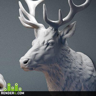 preview Голова оленя. Скульптура