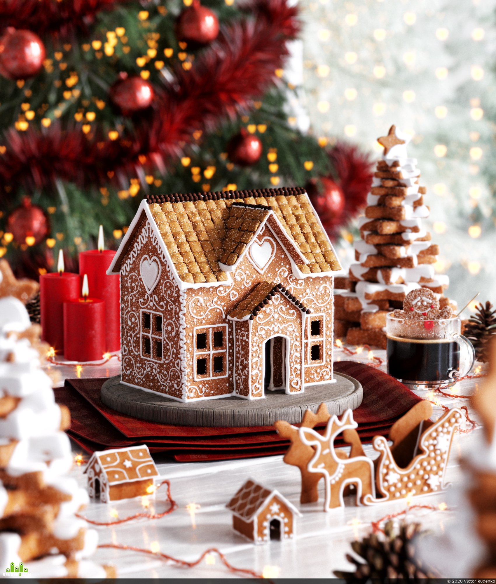 preview CGI Gingerbread House 3D