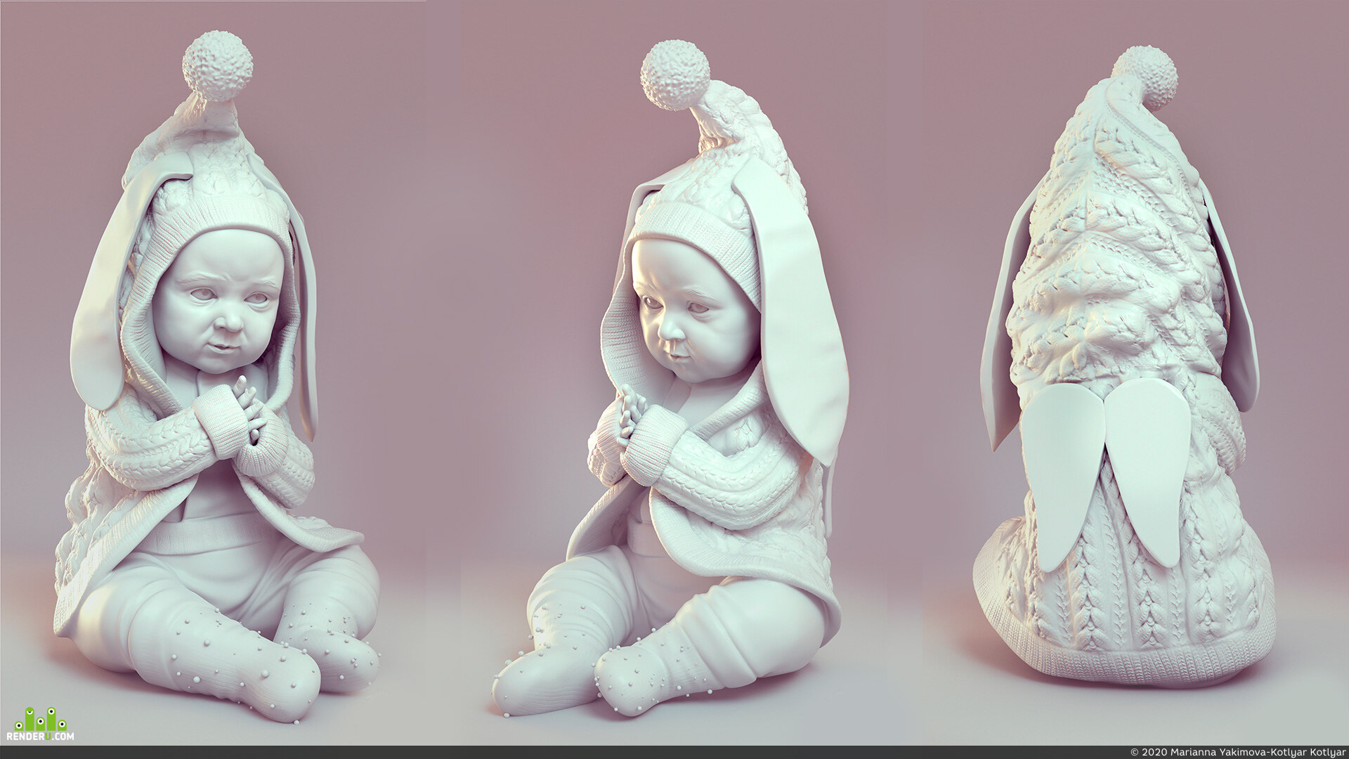 preview Sculpting model of a baby for 3d printing