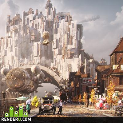 preview Steampunk urban city