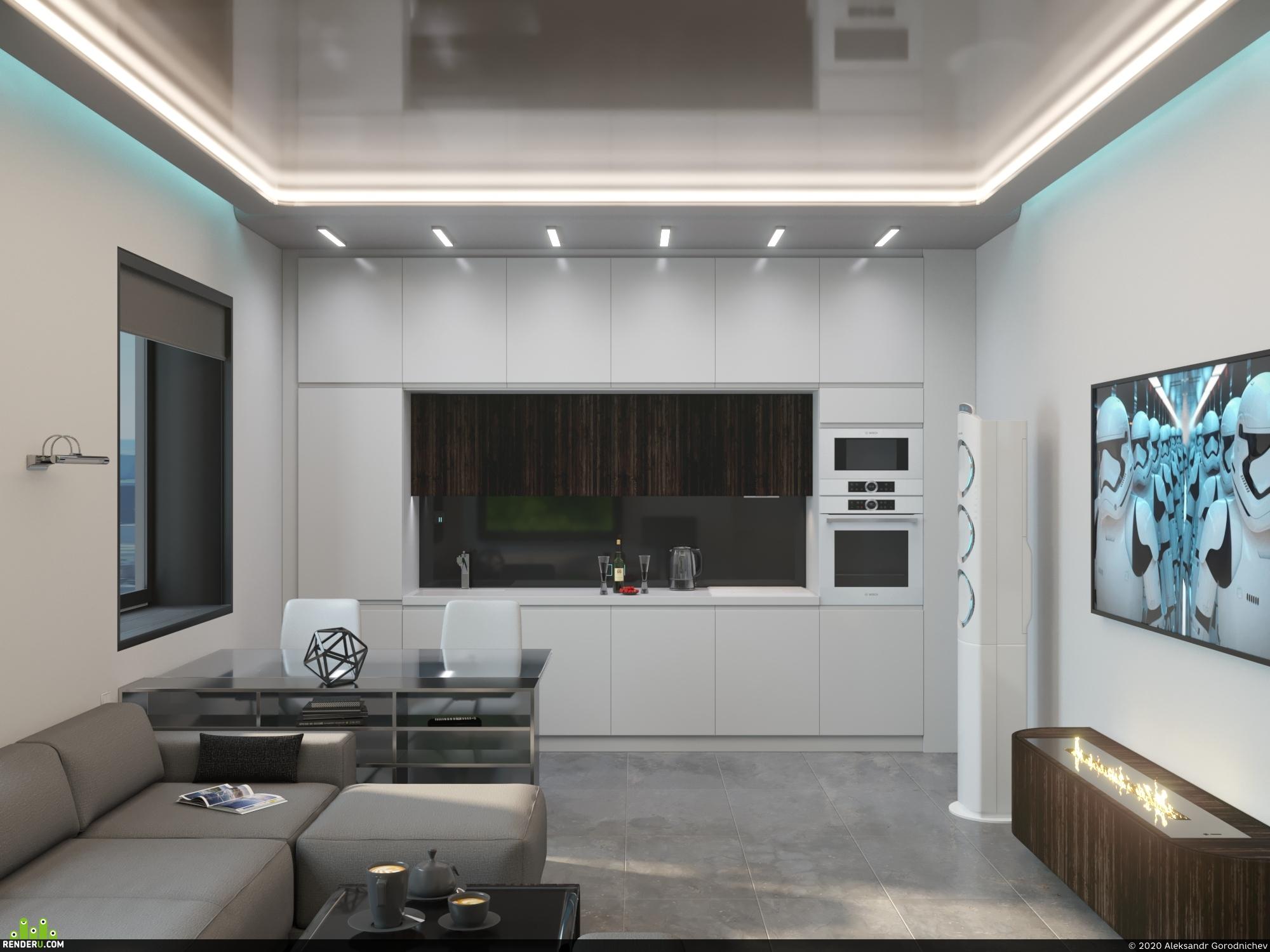 preview Кухня-гостиная Hi-TEch