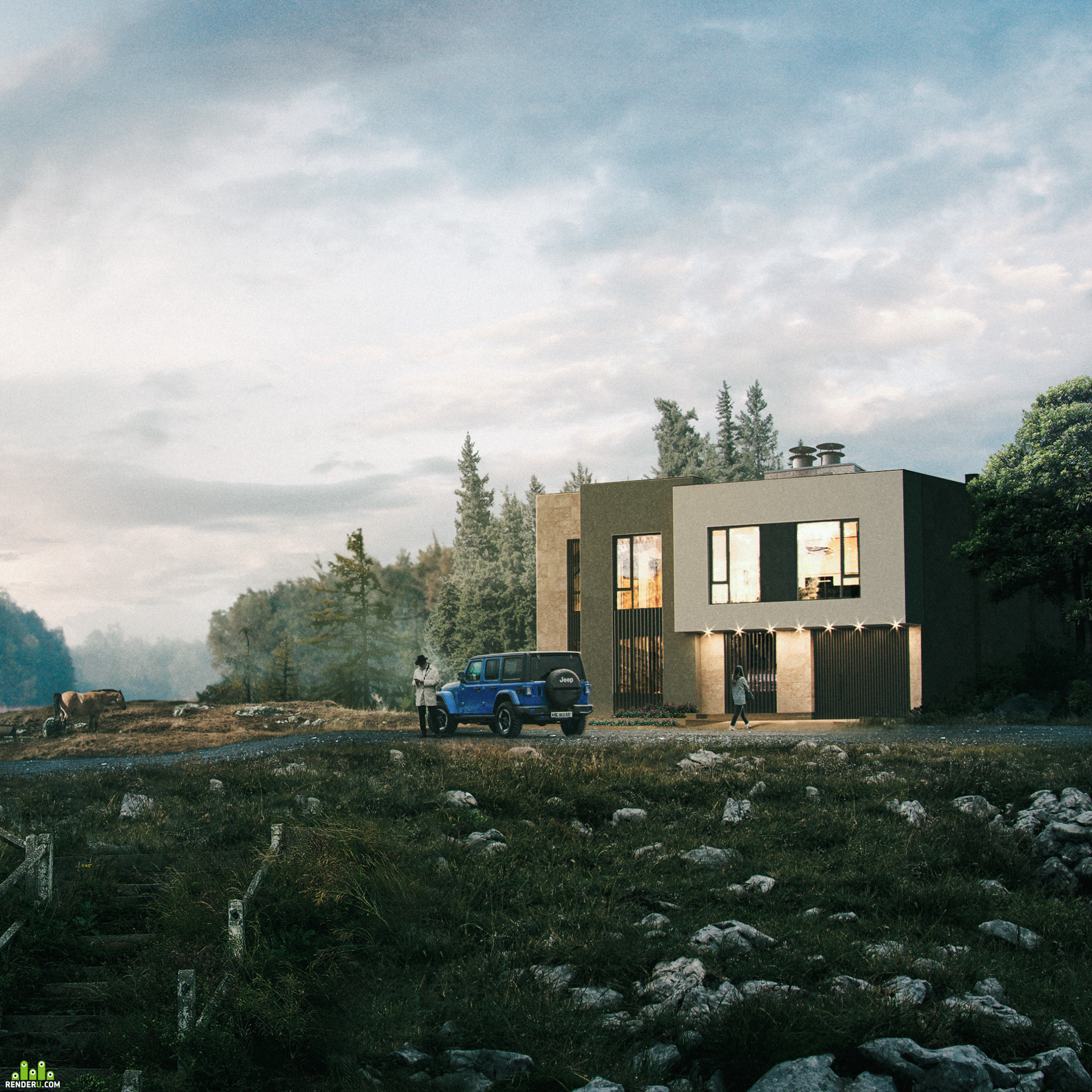 preview Country house by the lake (Archviz) + making of