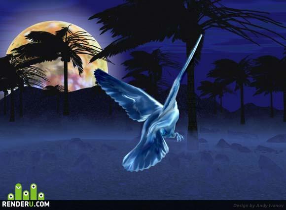 preview Полет металлической птицы в лунную ночь за секунду до полуночи...