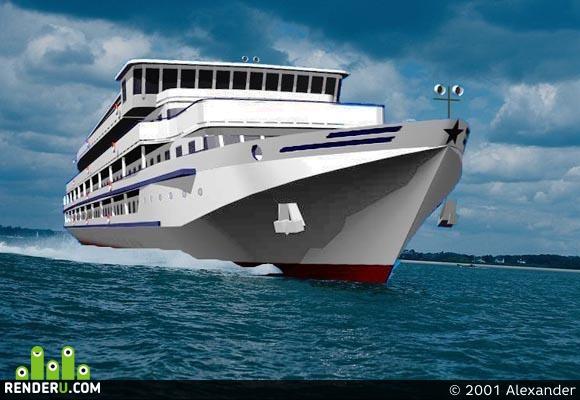 preview 3D model: Rechnoy 4-h palubnyiy korablik