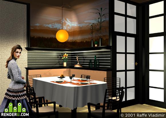 preview Фрагмент интерьера ресторана. Восточный кабинет