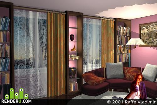 preview Каминная комната. Фрагмент интерьера