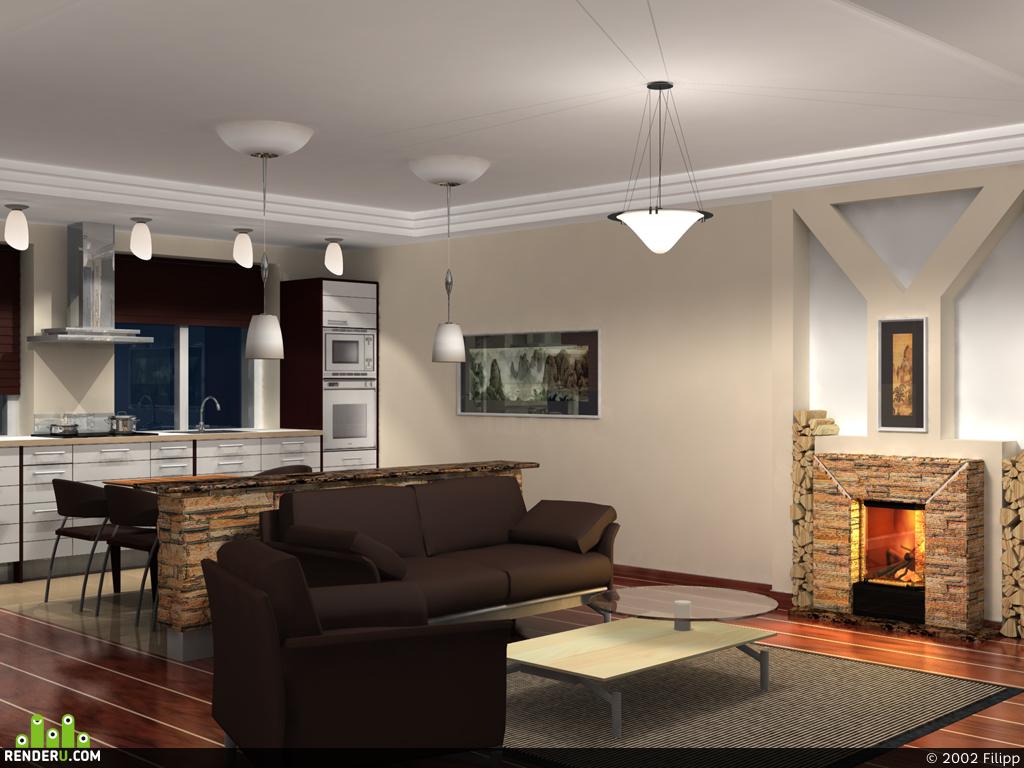 preview комната с камином