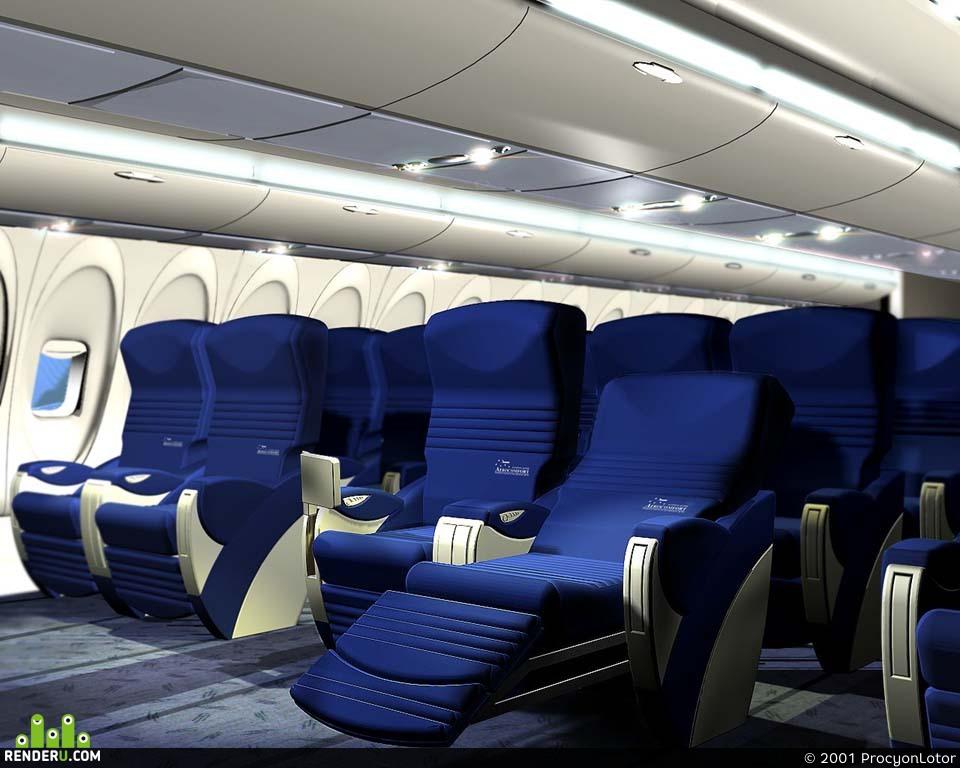 preview Интерьер самолета ИЛ-96-400 (салон бизнес класса и часть нижней палубы - кинотеатр)