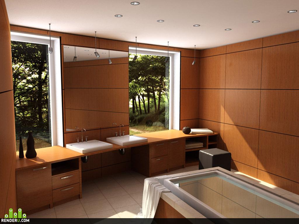 preview Ванная комната с видом на лес
