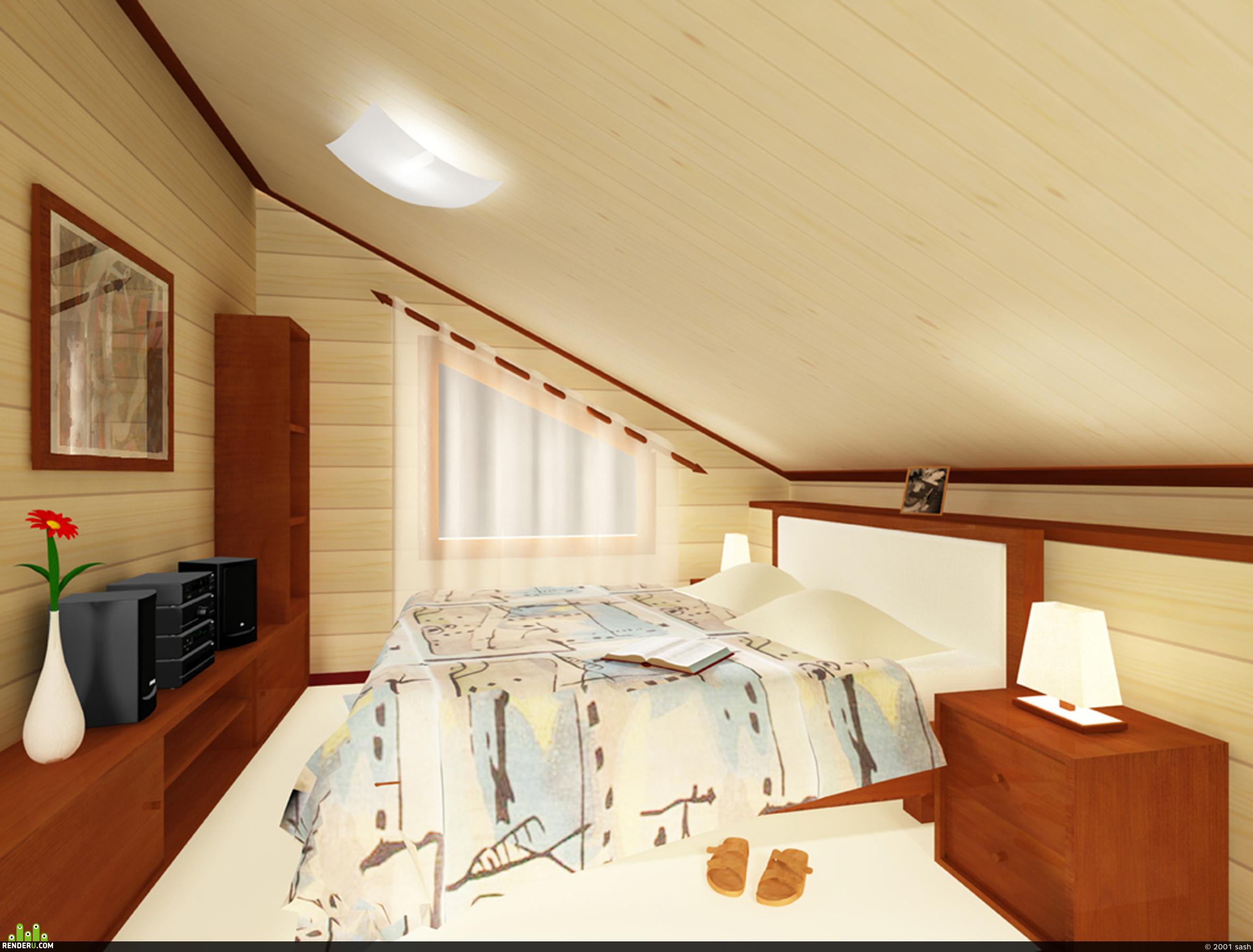 preview Спальня в мансарде