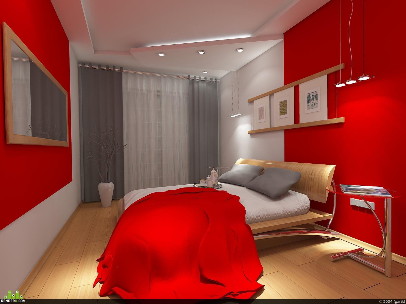 preview Красная спальня вечер