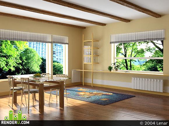 preview Комната с большими окнами