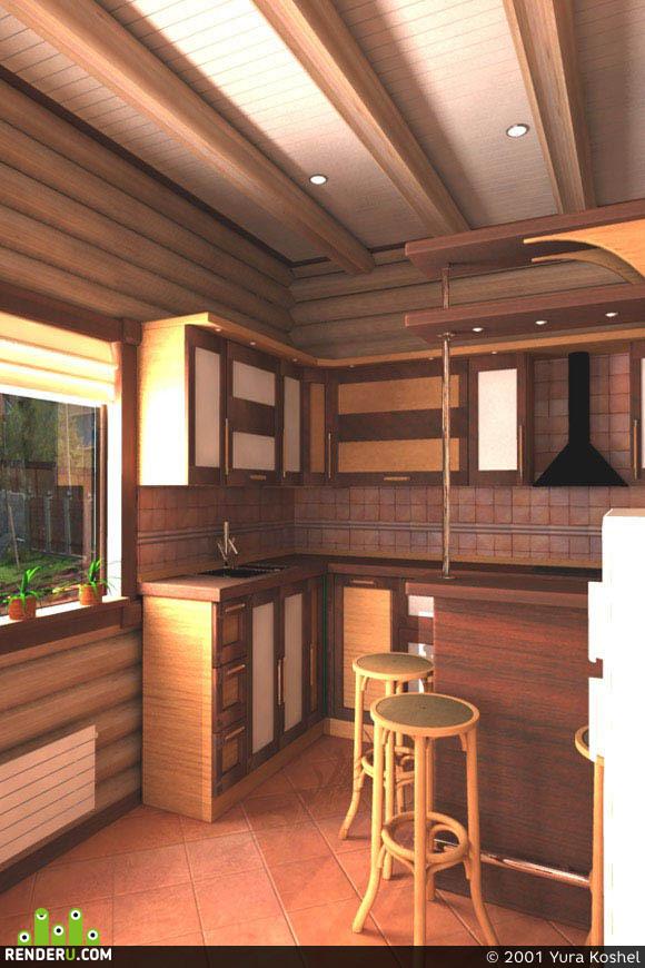 preview кухня деревянного дома