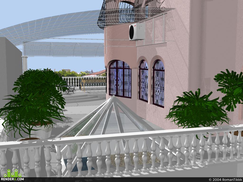preview Балкон с аранжереей и бассейном внизу