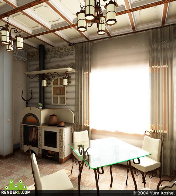 preview деревянный дом: кухня 1 вариант