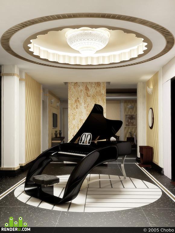preview Всё та же гостиная с роялем, но с другим освещением