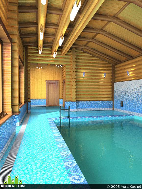 preview деревянный дом: бассейн