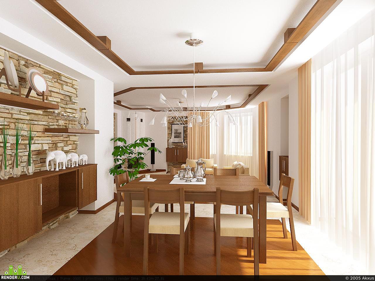 preview Интерьер столовой-гостинной