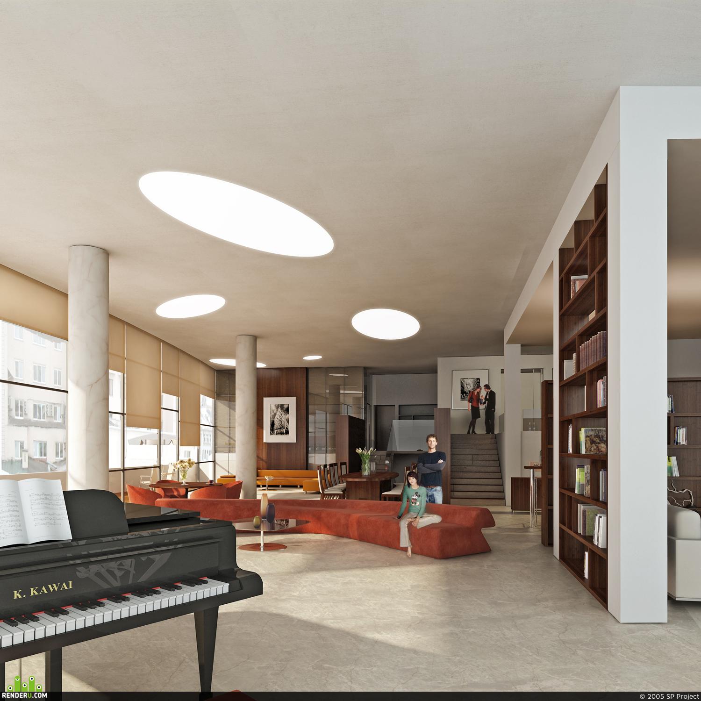 preview Визуализация интерьера элитного дома. Холл.