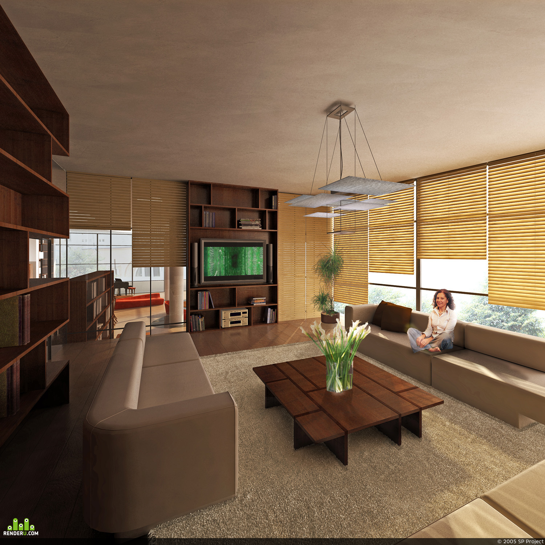 preview Визуализация интерьера элитного дома. Комната.
