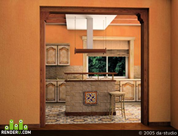 preview кухня в коттедже