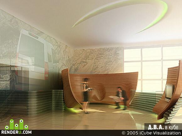 preview Дизайн проект зоны ожидания в автосалоне LandRover