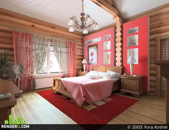 preview красная спальня