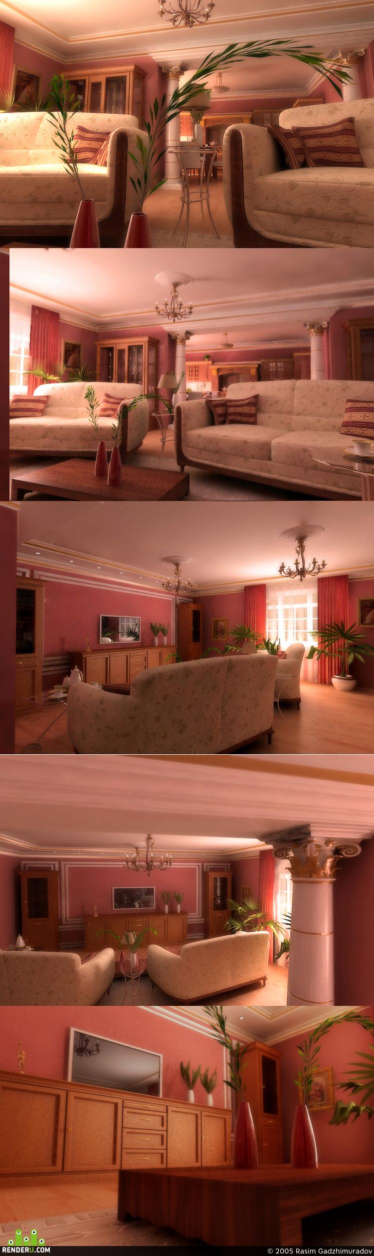 preview Гостинная в классике 1,11,05 мебель темные стены