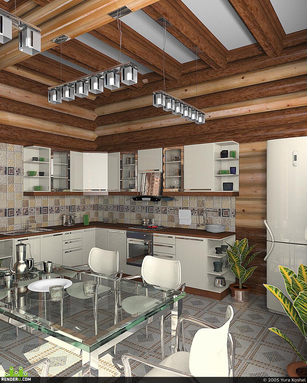 preview кухня в деревянном доме