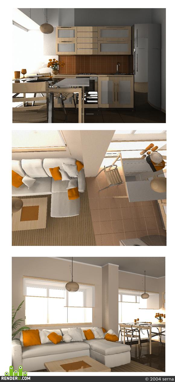 preview кухня-гостиная в условиях типовой планировки